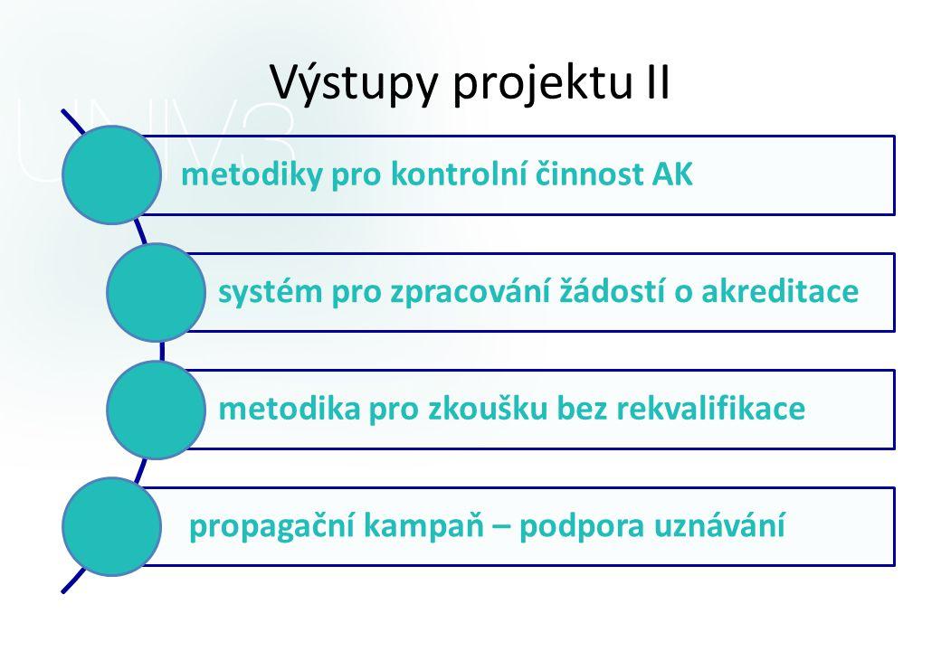 Výstupy projektu II metodiky pro kontrolní činnost AK systém pro zpracování žádostí o akreditace metodika pro zkoušku bez rekvalifikace propagační kampaň – podpora uznávání