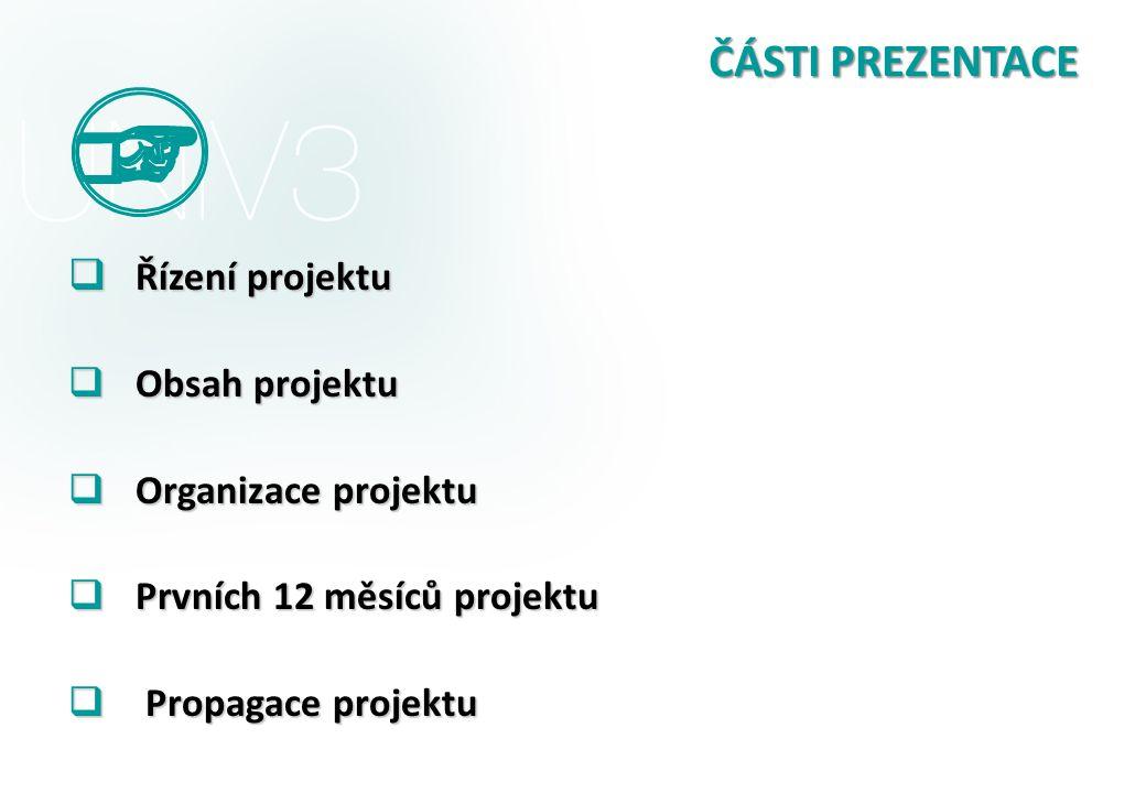 ČÁSTI PREZENTACE  Řízení projektu  Obsah projektu  Organizace projektu  Prvních 12 měsíců projektu  Propagace projektu