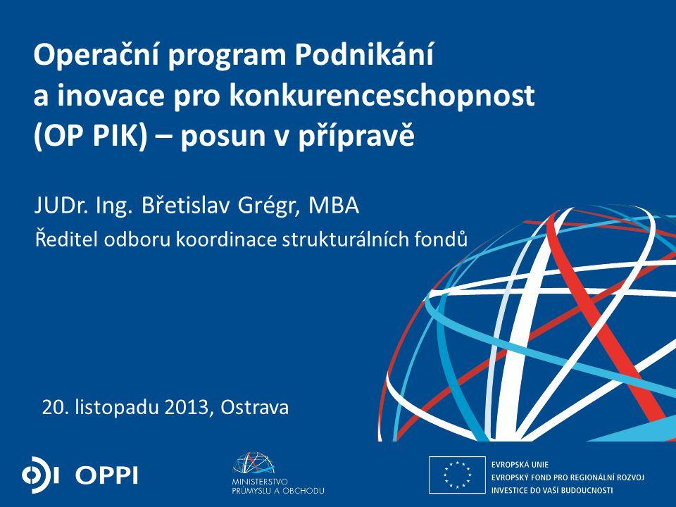 2 Požadavky Evropské komise: prioritizace a koncentrace aktivit, řešení vazeb a synergií s ostatními programy, propojení výzkumu a aplikovaného výzkumu s jejich využitím v praxi v rámci podnikání a inovací, vazba navrhovaných intervencí na Smart Specialization Strategie (S3), využití finančních nástrojů Územní dimenze: proběhlo jednání s regionálními partnery (NS MAS, SMS, SMO ČR a AK ČR) – návrhy na zapojení do implementace OP PIK Hraniční oblasti: probíhají technická jednání na pracovní úrovni i jednání na úrovni náměstků; překryvy víceméně dořešeny, nutné nastavit synergie a komplementarity Indikátory: důležité jejich nastavení, neboť Komise bude klást daleko větší důraz na dodržování stanovených cílových hodnot (milníky) Implementace: zprostředkující subjekty: CzechInvest, TA ČR Předběžné podmínky Informace z posledního jednání