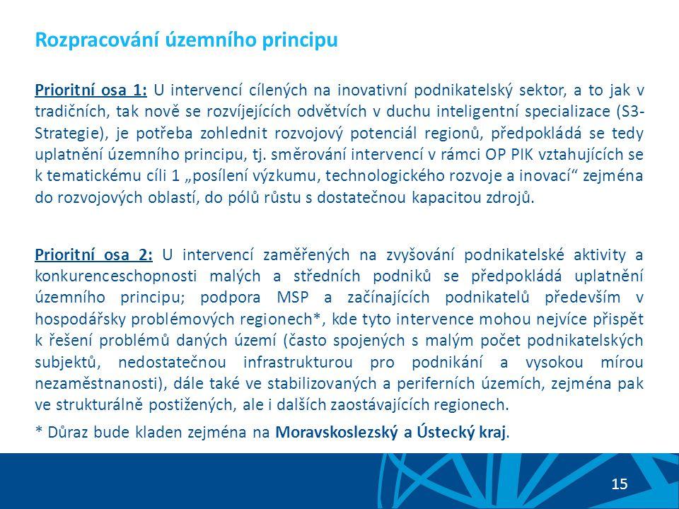15 Prioritní osa 1: U intervencí cílených na inovativní podnikatelský sektor, a to jak v tradičních, tak nově se rozvíjejících odvětvích v duchu inteligentní specializace (S3- Strategie), je potřeba zohlednit rozvojový potenciál regionů, předpokládá se tedy uplatnění územního principu, tj.