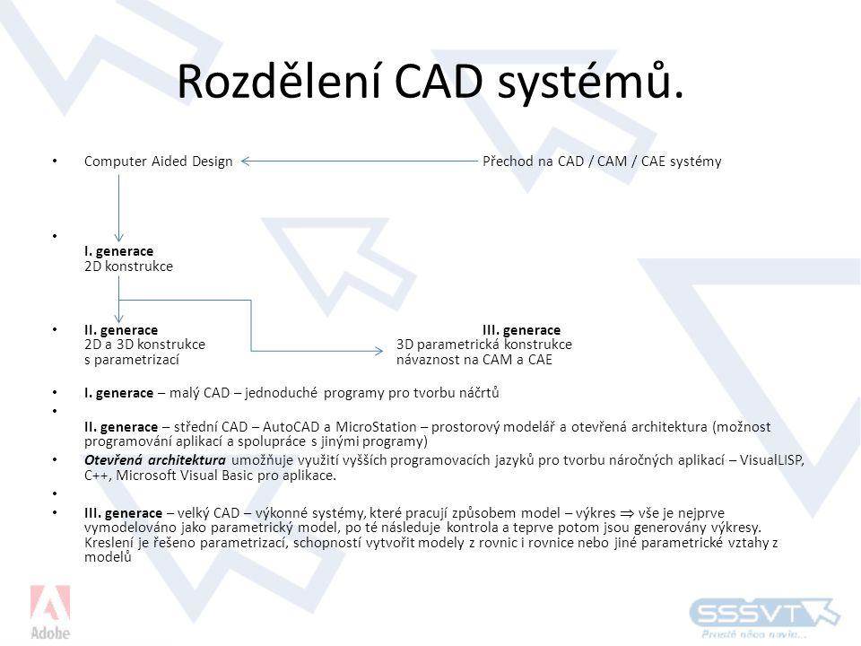 Rozdělení CAD systémů.• Computer Aided Design Přechod na CAD / CAM / CAE systémy • I.
