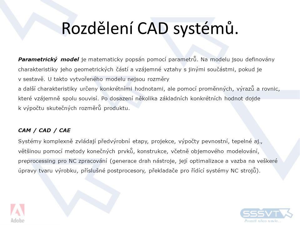 Rozdělení CAD systémů.Parametrický model je matematicky popsán pomocí parametrů.