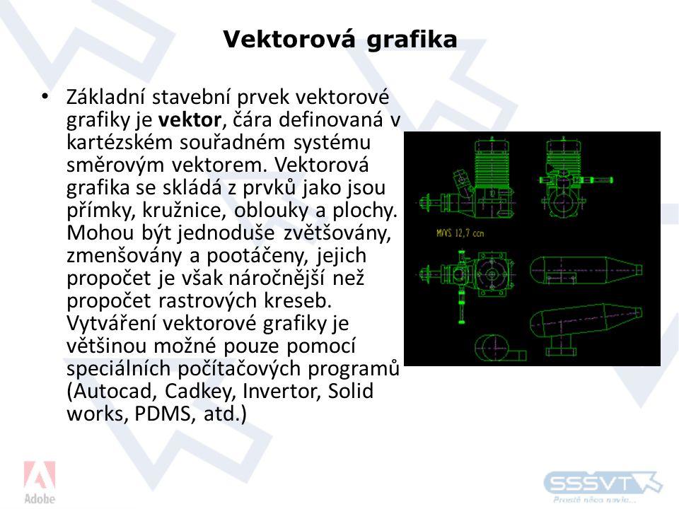 Vektorová grafika • Základní stavební prvek vektorové grafiky je vektor, čára definovaná v kartézském souřadném systému směrovým vektorem.