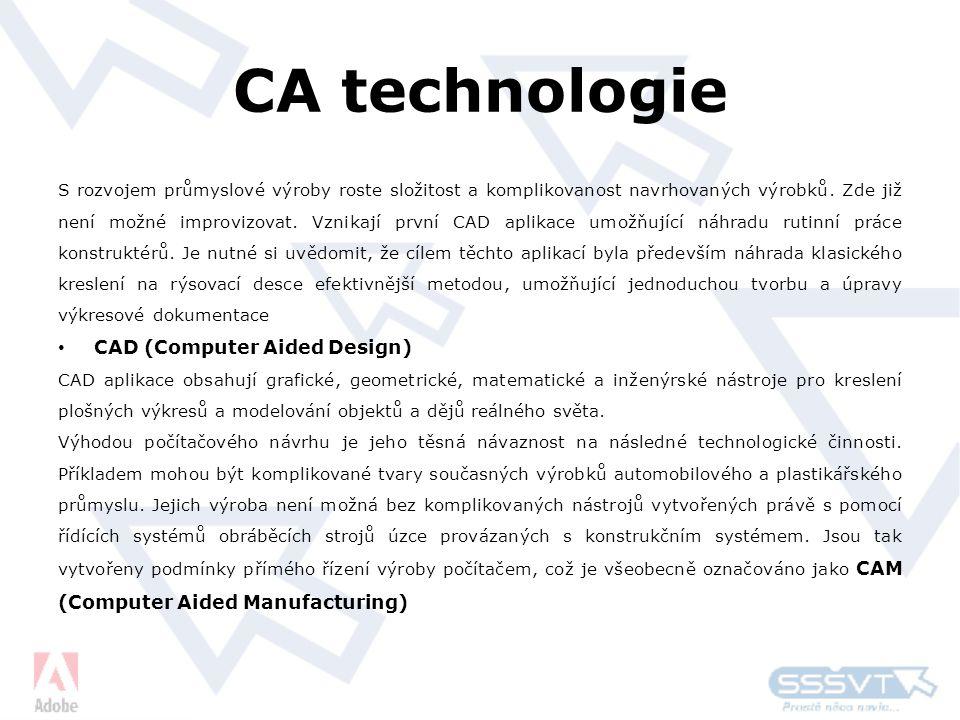 CA technologie S rozvojem průmyslové výroby roste složitost a komplikovanost navrhovaných výrobků.