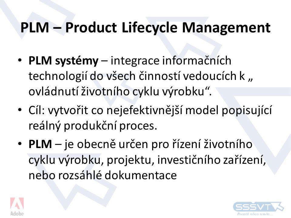 """PLM – Product Lifecycle Management • PLM systémy – integrace informačních technologií do všech činností vedoucích k """" ovládnutí životního cyklu výrobku ."""