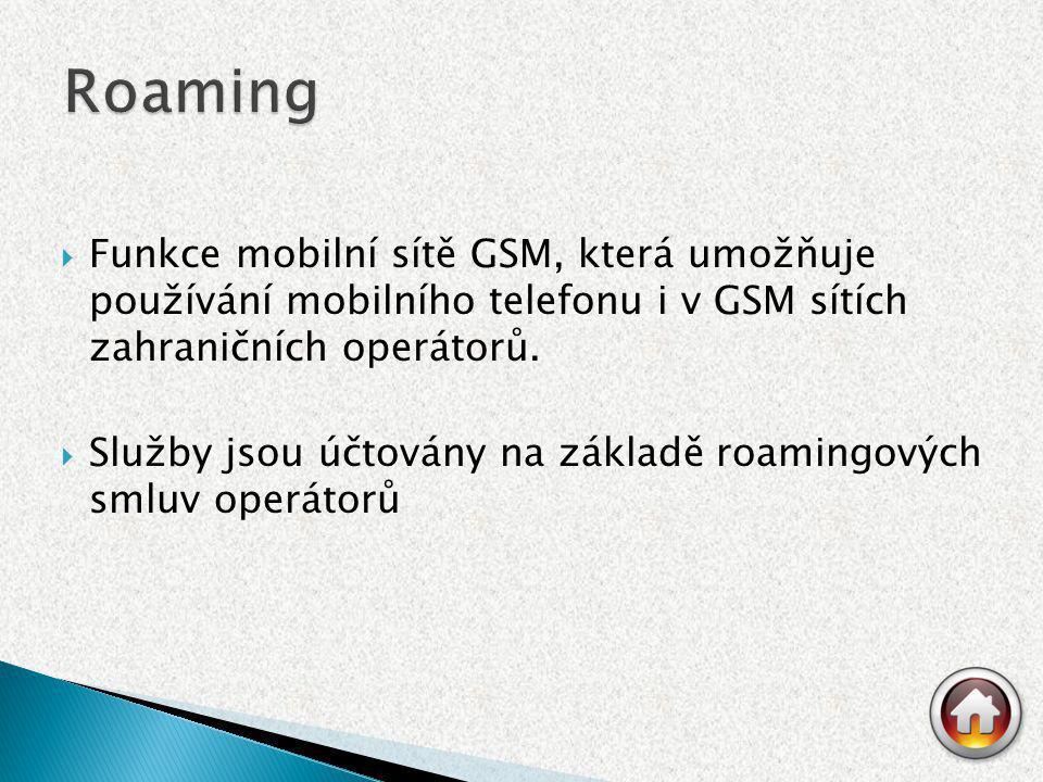  Funkce mobilní sítě GSM, která umožňuje používání mobilního telefonu i v GSM sítích zahraničních operátorů.  Služby jsou účtovány na základě roamin