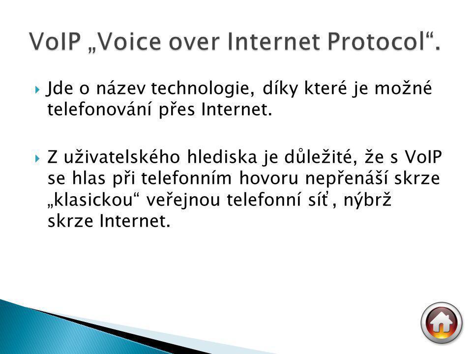  Jde o název technologie, díky které je možné telefonování přes Internet.  Z uživatelského hlediska je důležité, že s VoIP se hlas při telefonním ho