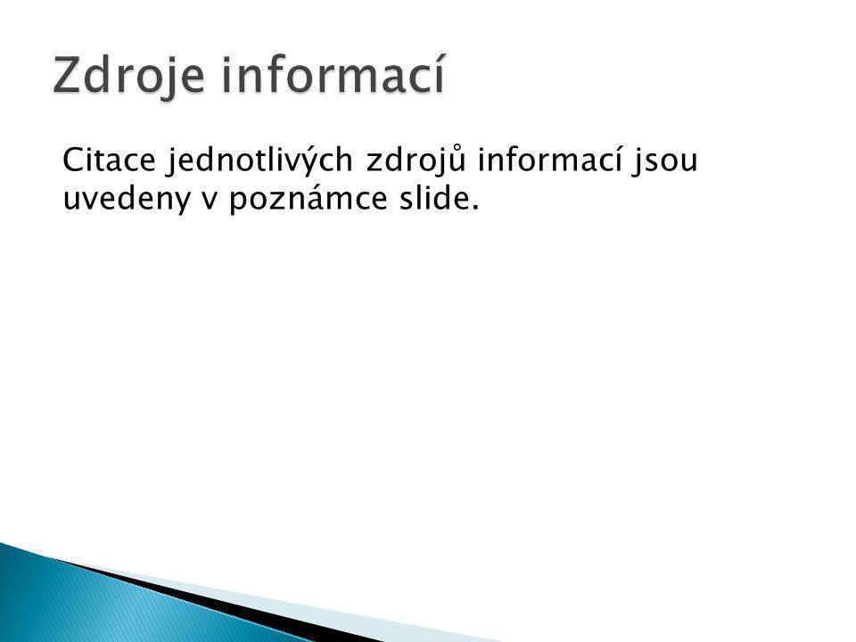 Citace jednotlivých zdrojů informací jsou uvedeny v poznámce slide.