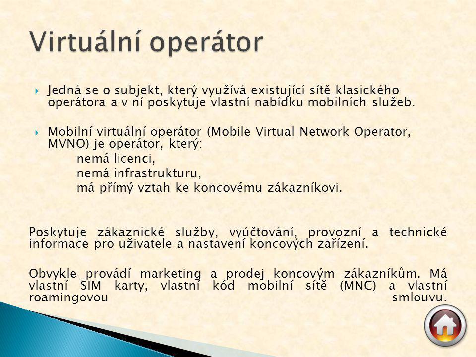  Jedná se o subjekt, který využívá existující sítě klasického operátora a v ní poskytuje vlastní nabídku mobilních služeb.  Mobilní virtuální operát