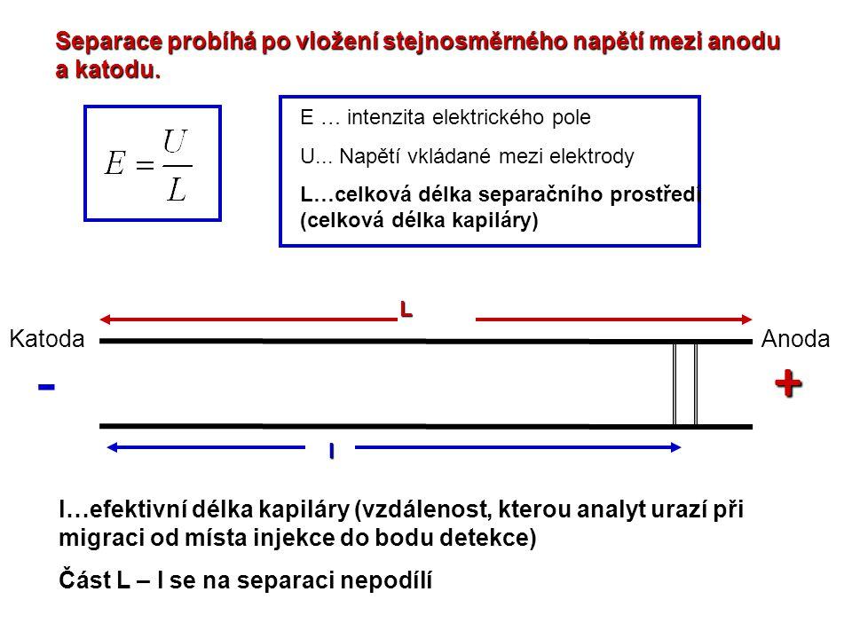 Separace probíhá po vložení stejnosměrného napětí mezi anodu a katodu. E … intenzita elektrického pole U... Napětí vkládané mezi elektrody L…celková d