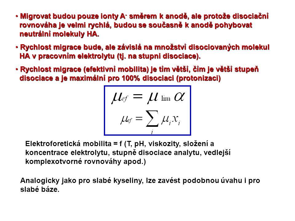 • Migrovat budou pouze ionty A - směrem k anodě, ale protože disociační rovnováha je velmi rychlá, budou se současně k anodě pohybovat neutrální molek