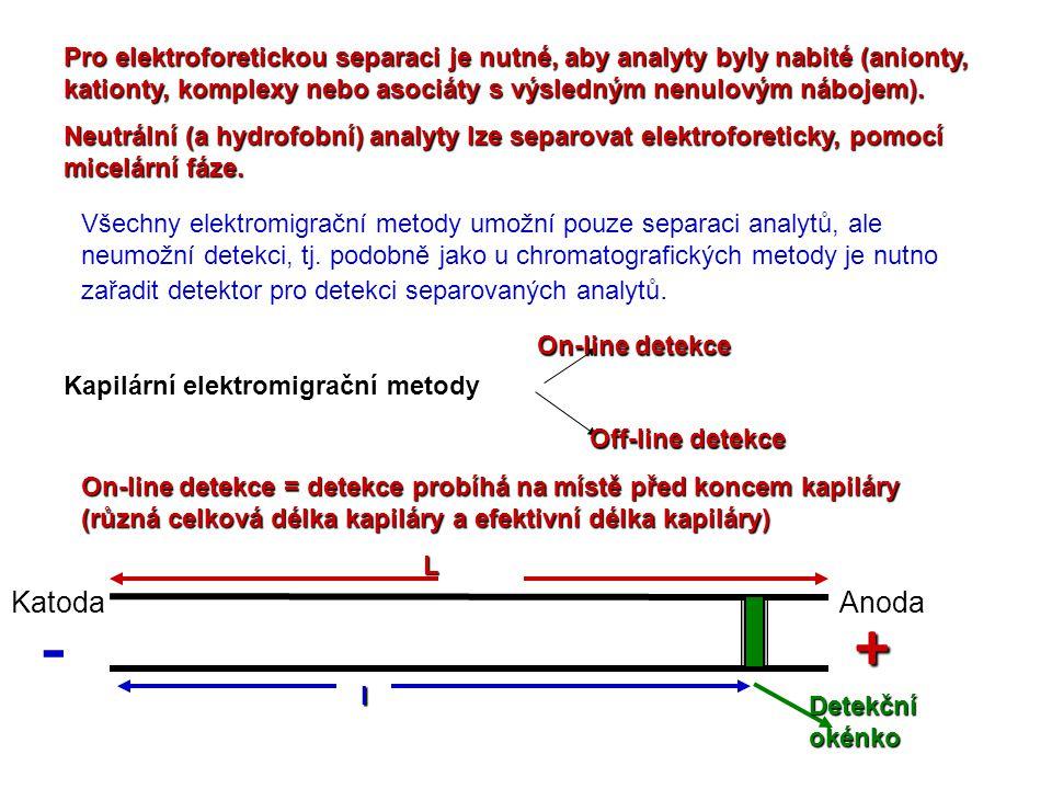 Pro elektroforetickou separaci je nutné, aby analyty byly nabité (anionty, kationty, komplexy nebo asociáty s výsledným nenulovým nábojem). Neutrální
