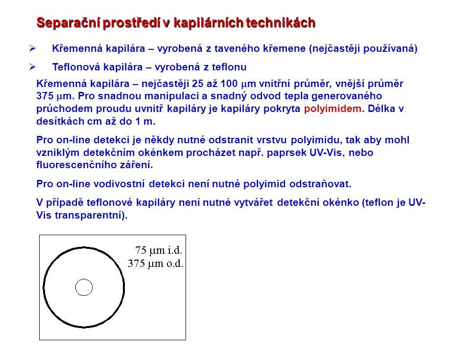 Separační prostředí v kapilárních technikách  Křemenná kapilára – vyrobená z taveného křemene (nejčastěji používaná)  Teflonová kapilára – vyrobená
