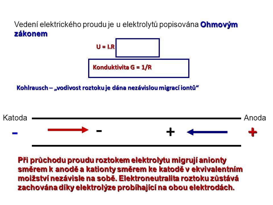 """Ohmovým zákonem Vedení elektrického proudu je u elektrolytů popisována Ohmovým zákonem U = I.R Konduktivita G = 1/R Kohlrausch – """"vodivost roztoku je"""