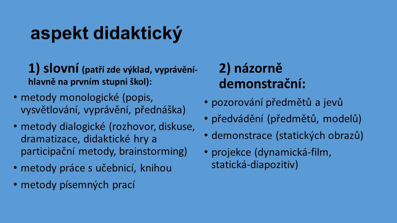 aspekt didaktický 1) slovní (patří zde výklad, vyprávění- hlavně na prvním stupni škol): • metody monologické (popis, vysvětlování, vyprávění, přednáš