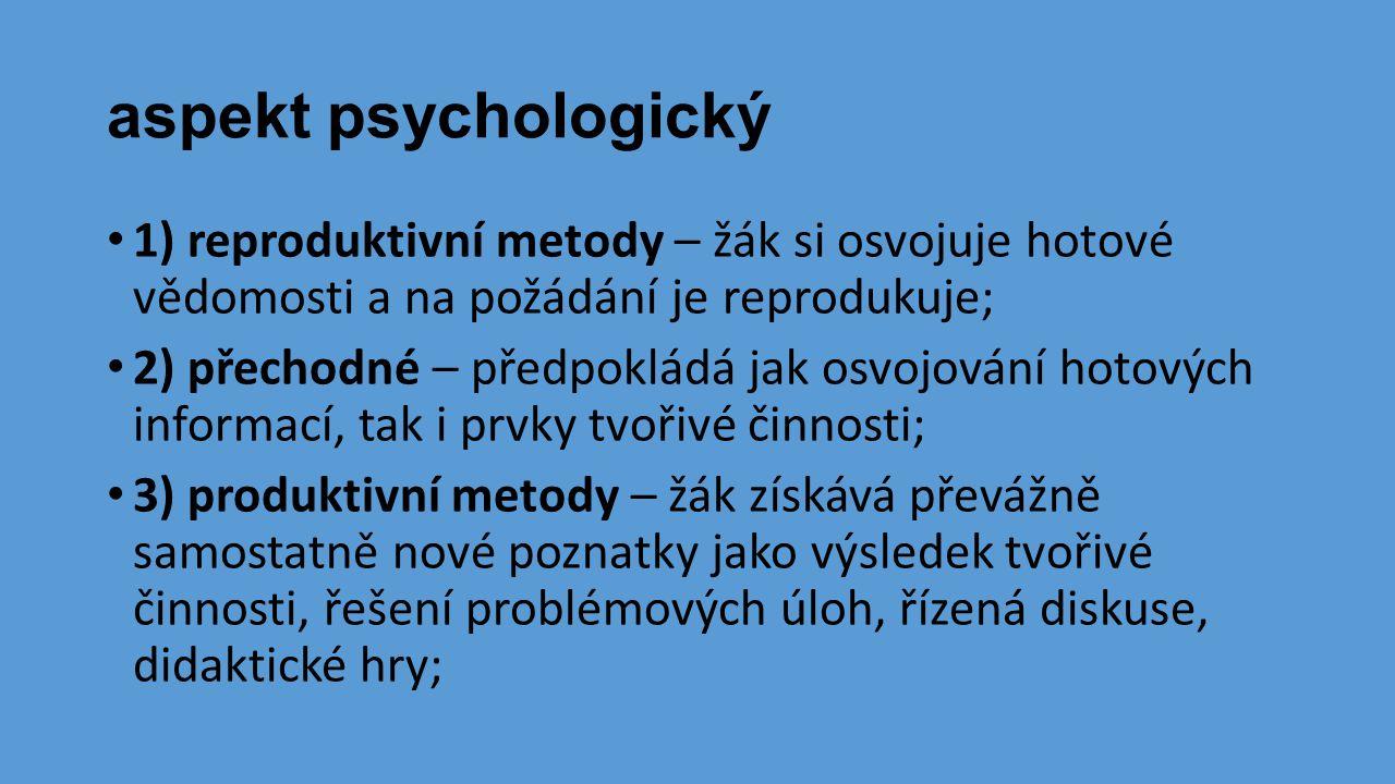 aspekt psychologický • 1) reproduktivní metody – žák si osvojuje hotové vědomosti a na požádání je reprodukuje; • 2) přechodné – předpokládá jak osvoj