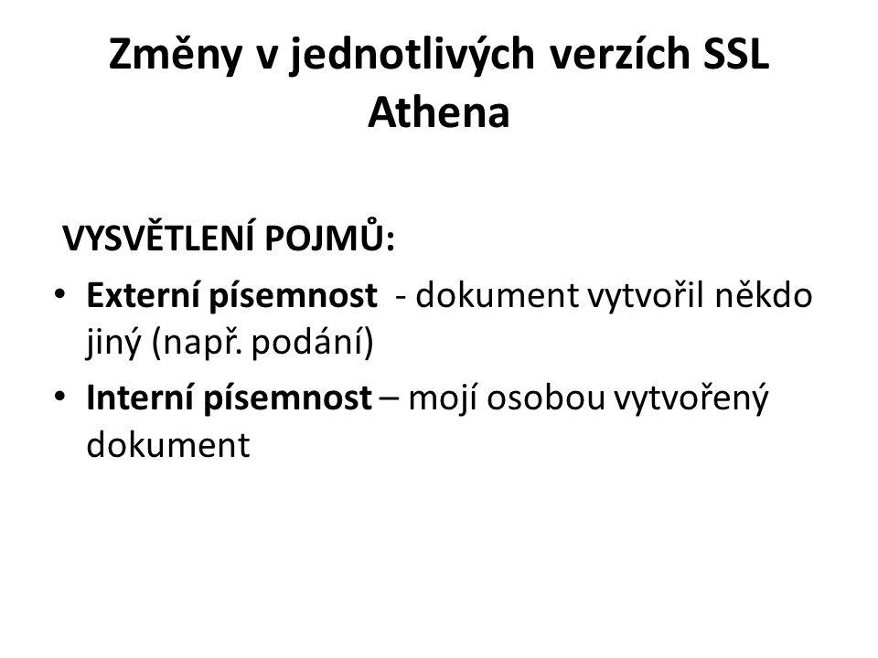 Změny v jednotlivých verzích SSL Athena VYSVĚTLENÍ POJMŮ: • Externí písemnost - dokument vytvořil někdo jiný (např. podání) • Interní písemnost – mojí