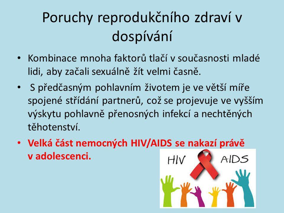 Poruchy reprodukčního zdraví v dospívání • Kombinace mnoha faktorů tlačí v současnosti mladé lidi, aby začali sexuálně žít velmi časně.
