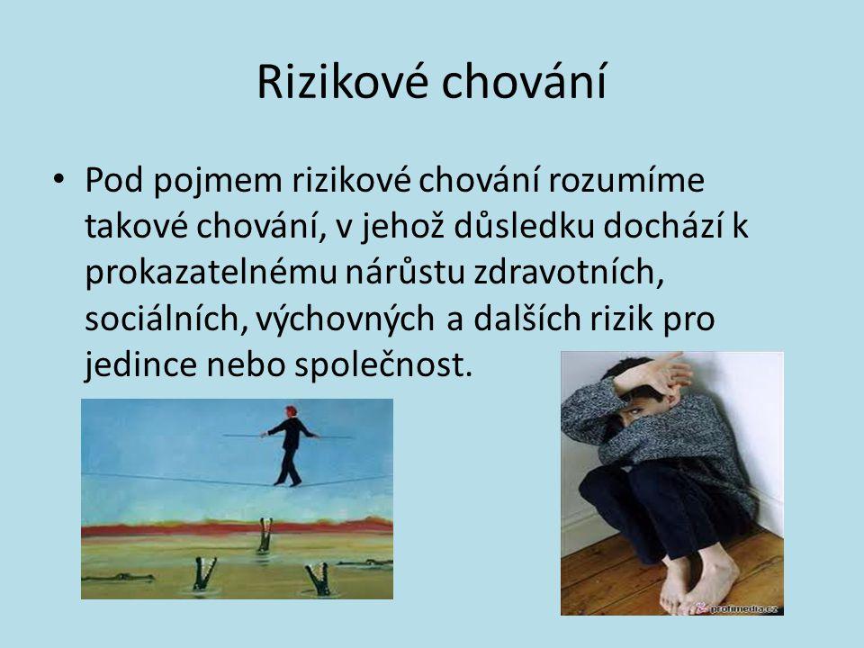 Rizikové chování • Pod pojmem rizikové chování rozumíme takové chování, v jehož důsledku dochází k prokazatelnému nárůstu zdravotních, sociálních, výchovných a dalších rizik pro jedince nebo společnost.