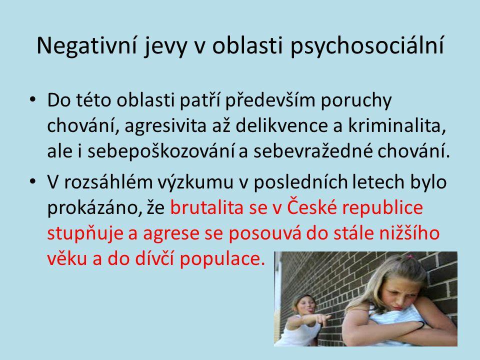 Negativní jevy v oblasti psychosociální • Do této oblasti patří především poruchy chování, agresivita až delikvence a kriminalita, ale i sebepoškozování a sebevražedné chování.