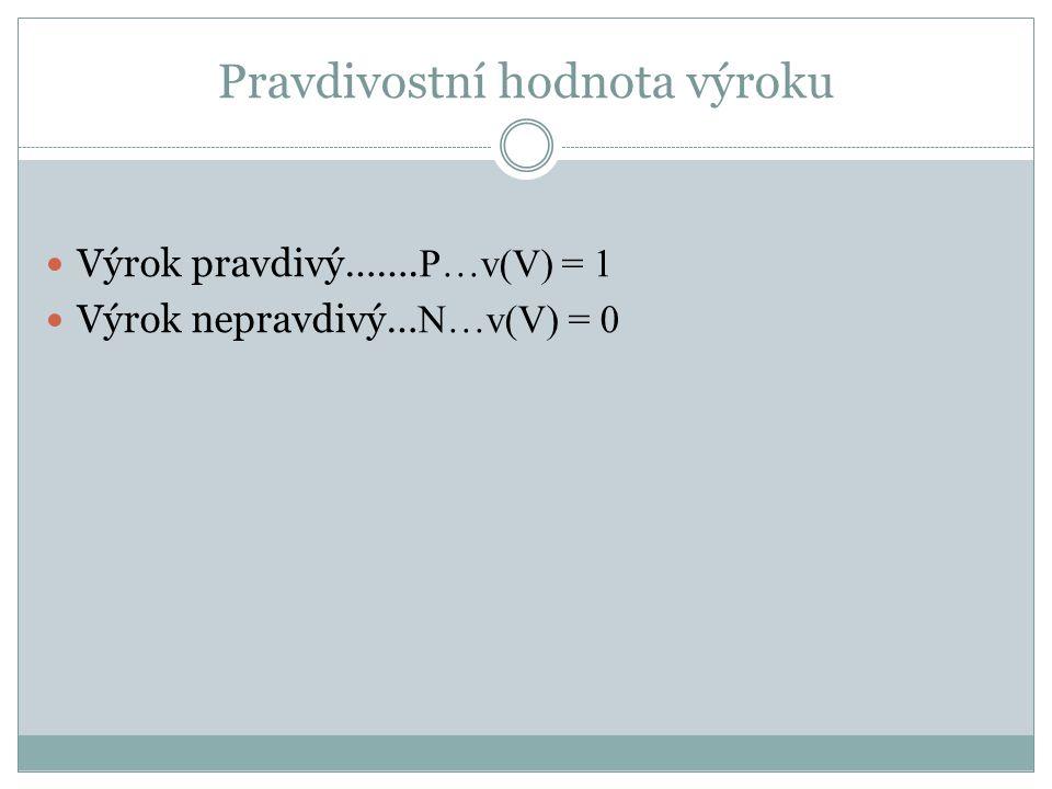 Pravdivostní hodnota výroku  Výrok pravdivý……. P…v(V) = 1  Výrok nepravdivý… N…v(V) = 0