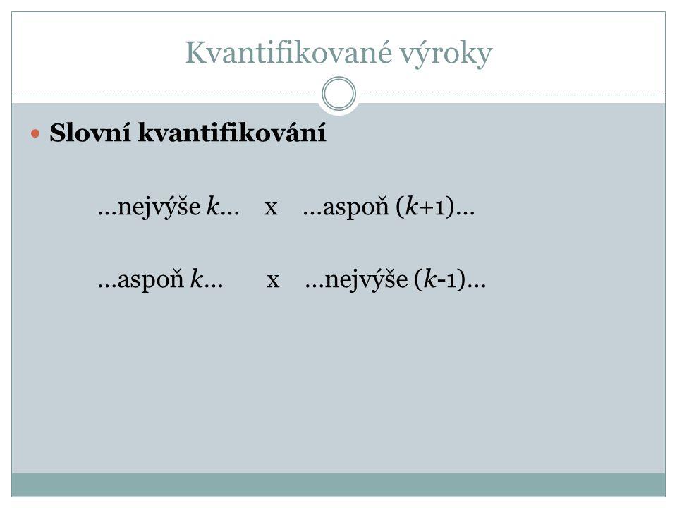  Slovní kvantifikování …nejvýše k… x …aspoň (k+1)… …aspoň k… x …nejvýše (k-1)…