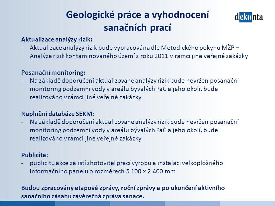 Geologické práce a vyhodnocení sanačních prací Aktualizace analýzy rizik: -Aktualizace analýzy rizik bude vypracována dle Metodického pokynu MŽP – Ana