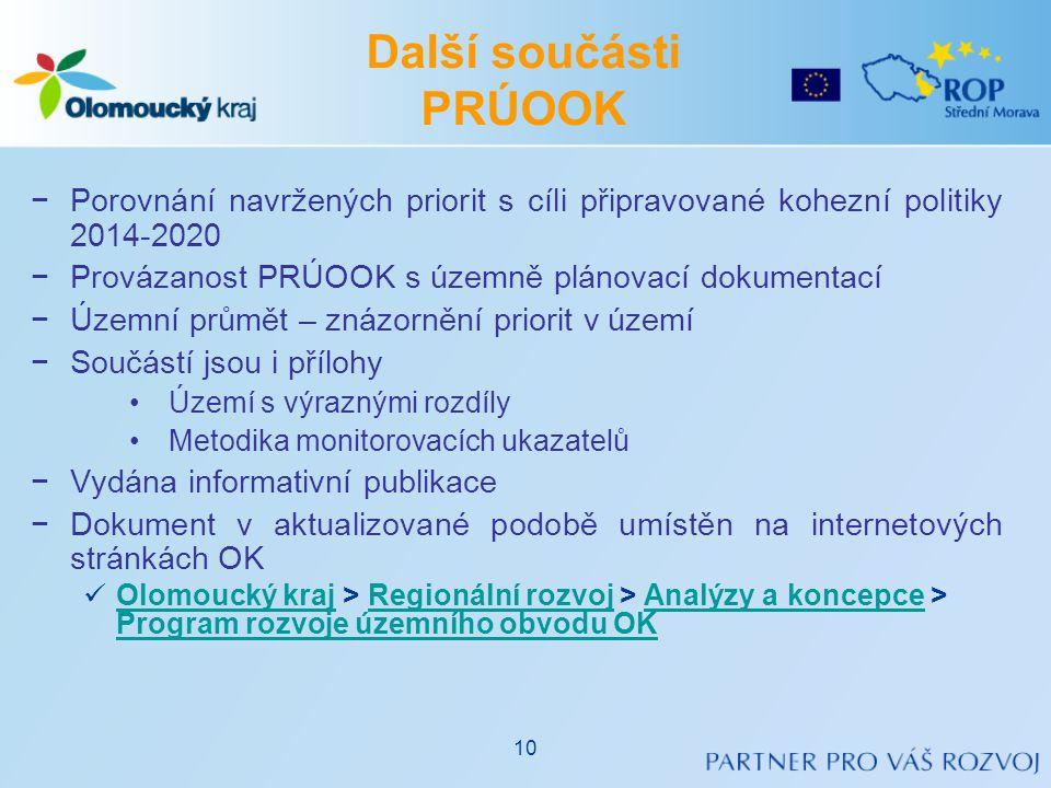 Další součásti PRÚOOK −Porovnání navržených priorit s cíli připravované kohezní politiky 2014-2020 −Provázanost PRÚOOK s územně plánovací dokumentací