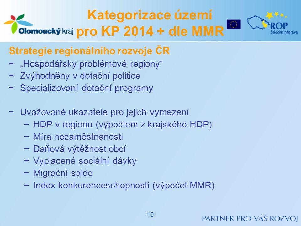"""Strategie regionálního rozvoje ČR −""""Hospodářsky problémové regiony"""" −Zvýhodněny v dotační politice −Specializovaní dotační programy −Uvažované ukazate"""