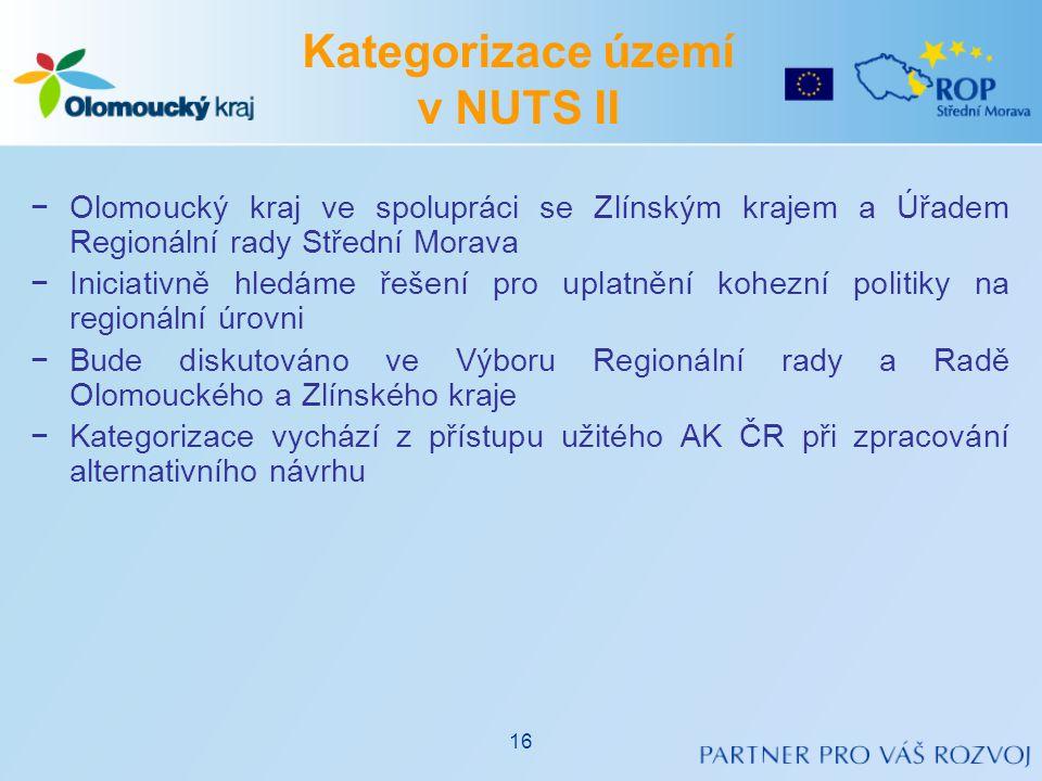 −Olomoucký kraj ve spolupráci se Zlínským krajem a Úřadem Regionální rady Střední Morava −Iniciativně hledáme řešení pro uplatnění kohezní politiky na