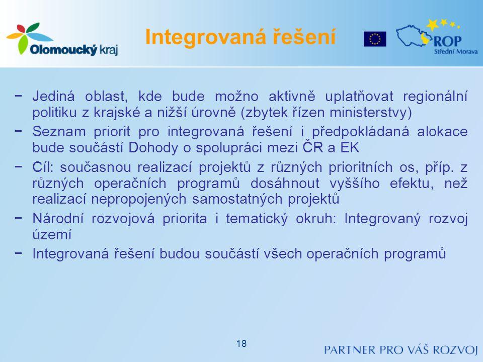 −Jediná oblast, kde bude možno aktivně uplatňovat regionální politiku z krajské a nižší úrovně (zbytek řízen ministerstvy) −Seznam priorit pro integro