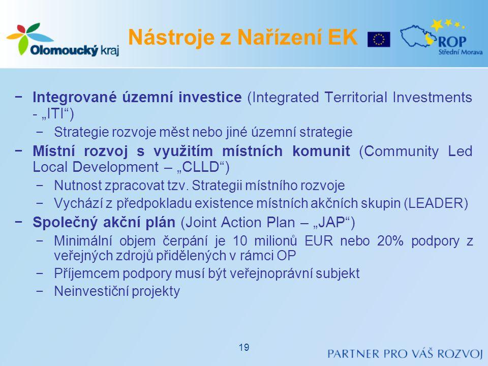 """−Integrované územní investice (Integrated Territorial Investments - """"ITI"""") −Strategie rozvoje měst nebo jiné územní strategie −Místní rozvoj s využití"""