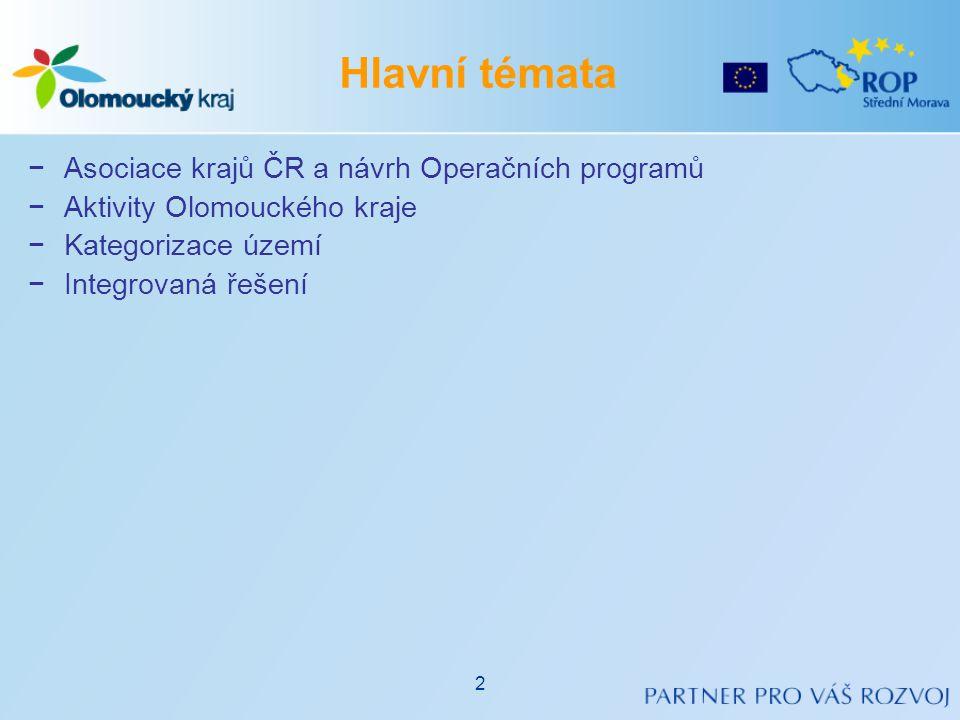 −Asociace krajů ČR a návrh Operačních programů −Aktivity Olomouckého kraje −Kategorizace území −Integrovaná řešení Hlavní témata 2