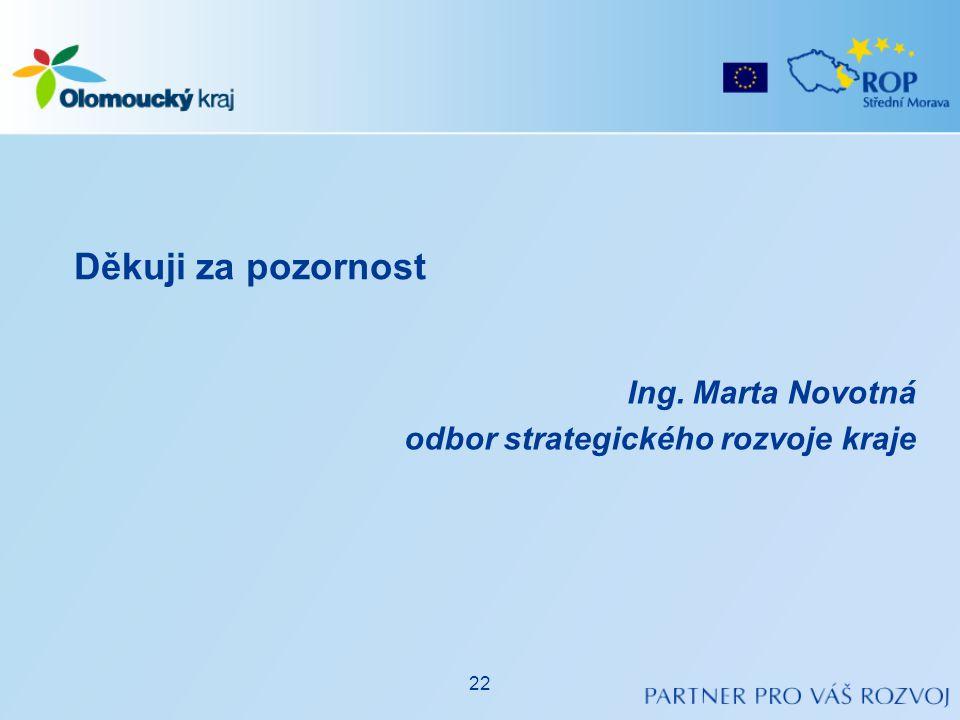 Ing. Marta Novotná odbor strategického rozvoje kraje Děkuji za pozornost 22
