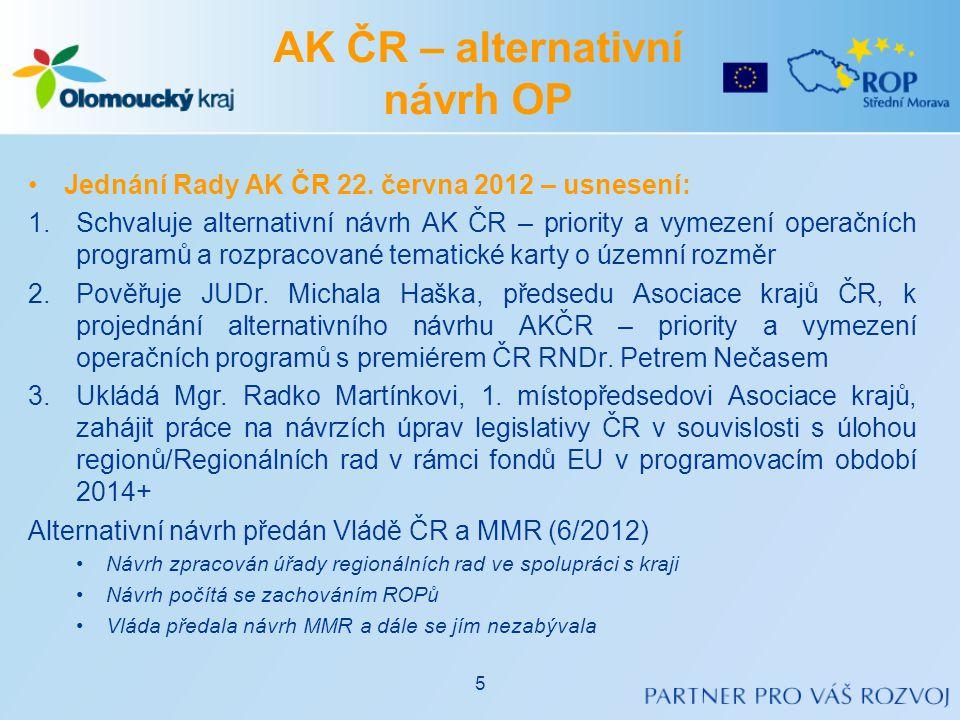 AK ČR – alternativní návrh OP •Jednání Rady AK ČR 22. června 2012 – usnesení: 1.Schvaluje alternativní návrh AK ČR – priority a vymezení operačních pr