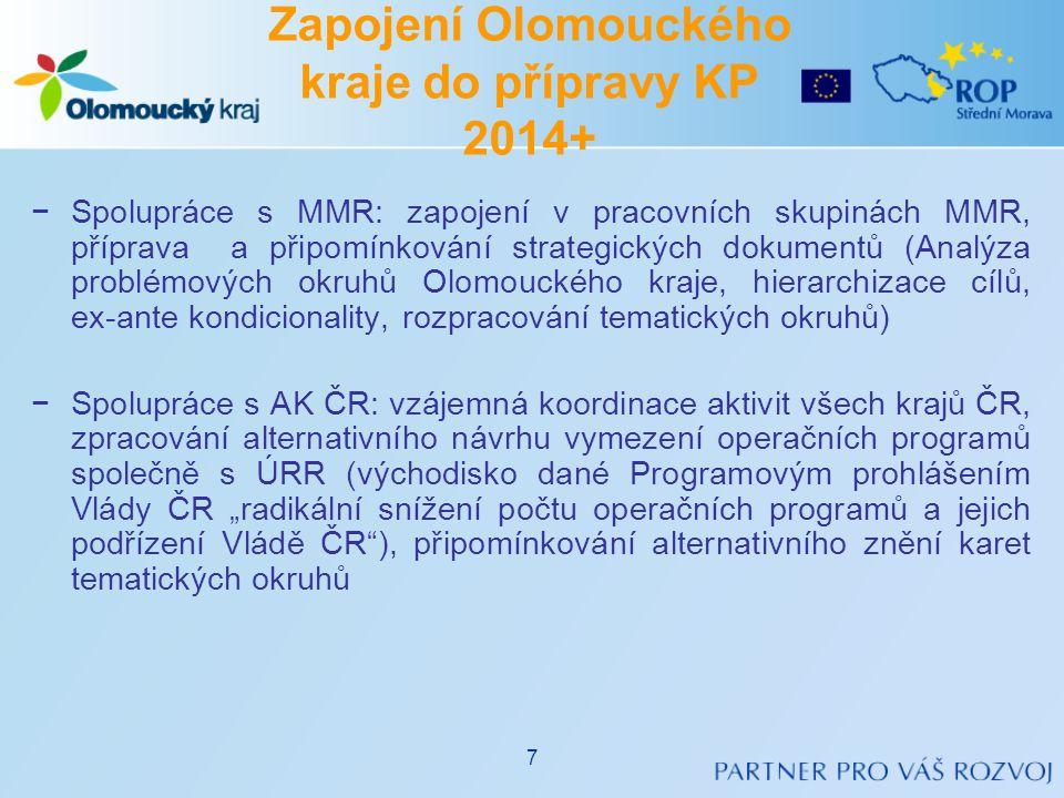 −Spolupráce s MMR: zapojení v pracovních skupinách MMR, příprava a připomínkování strategických dokumentů (Analýza problémových okruhů Olomouckého kra