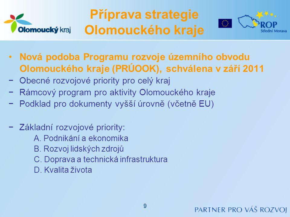 Příprava strategie Olomouckého kraje •Nová podoba Programu rozvoje územního obvodu Olomouckého kraje (PRÚOOK), schválena v září 2011 −Obecné rozvojové