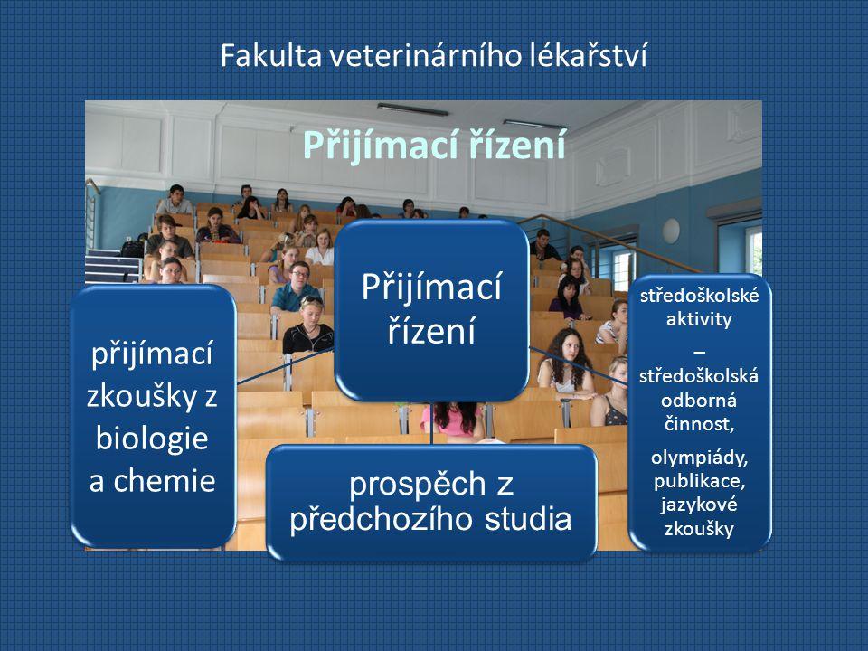 Fakulta veterinárního lékařství Přijímací řízení Přijímací řízení prospěch z předchozího studia středoškolské aktivity – středoškolská odborná činnost