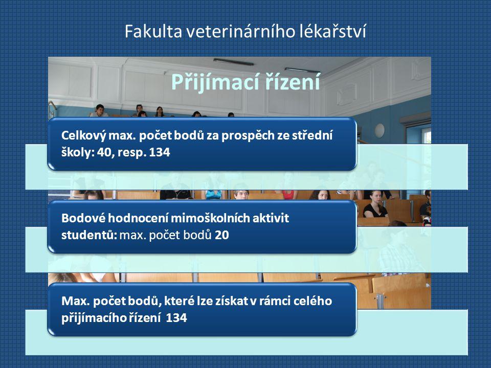 Fakulta veterinárního lékařství Přijímací řízení Celkový max. počet bodů za prospěch ze střední školy: 40, resp. 134 Bodové hodnocení mimoškolních akt