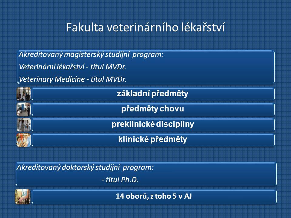 Fakulta veterinárního lékařství Akreditovaný magisterský studijní program: Veterinární lékařství - titul MVDr. Veterinary Medicine - titul MVDr. zákla