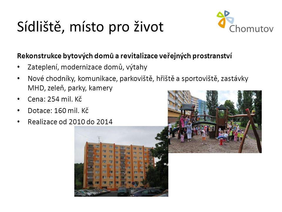 Sídliště, místo pro život Rekonstrukce bytových domů a revitalizace veřejných prostranství • Zateplení, modernizace domů, výtahy • Nové chodníky, komu