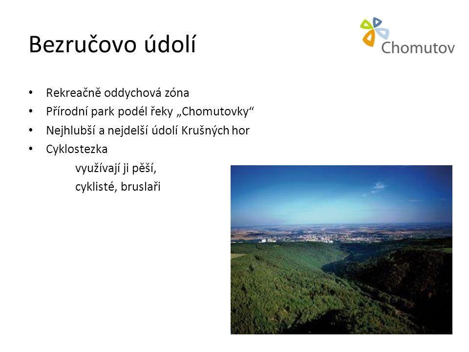 """Bezručovo údolí • Rekreačně oddychová zóna • Přírodní park podél řeky """"Chomutovky"""" • Nejhlubší a nejdelší údolí Krušných hor • Cyklostezka využívají j"""