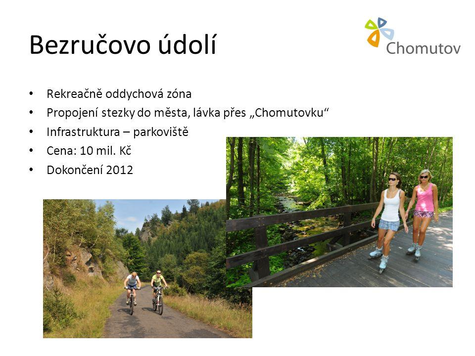 """Bezručovo údolí • Rekreačně oddychová zóna • Propojení stezky do města, lávka přes """"Chomutovku • Infrastruktura – parkoviště • Cena: 10 mil."""