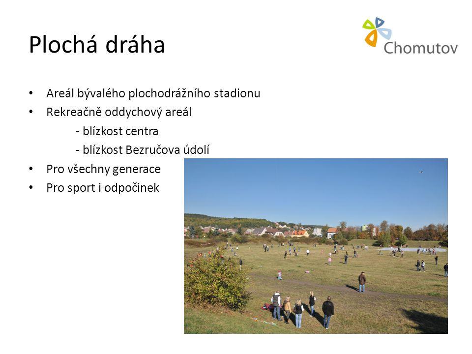 Plochá dráha • Areál bývalého plochodrážního stadionu • Rekreačně oddychový areál - blízkost centra - blízkost Bezručova údolí • Pro všechny generace • Pro sport i odpočinek