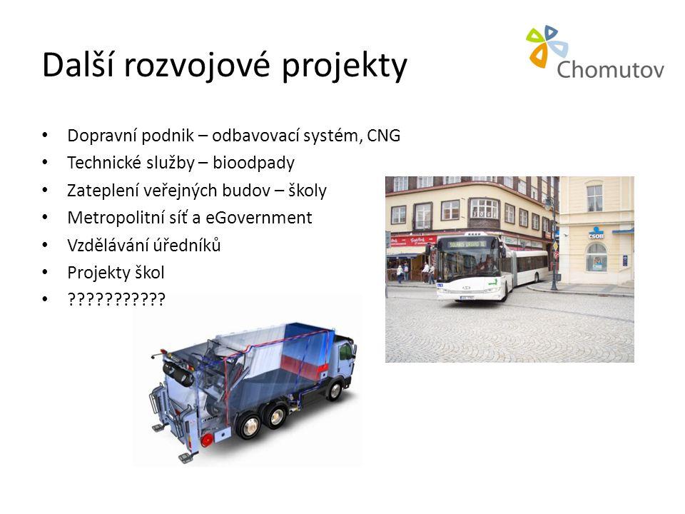 Další rozvojové projekty • Dopravní podnik – odbavovací systém, CNG • Technické služby – bioodpady • Zateplení veřejných budov – školy • Metropolitní