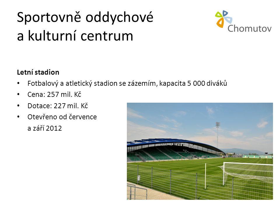 Sportovně oddychové a kulturní centrum Letní stadion • Fotbalový a atletický stadion se zázemím, kapacita 5 000 diváků • Cena: 257 mil. Kč • Dotace: 2