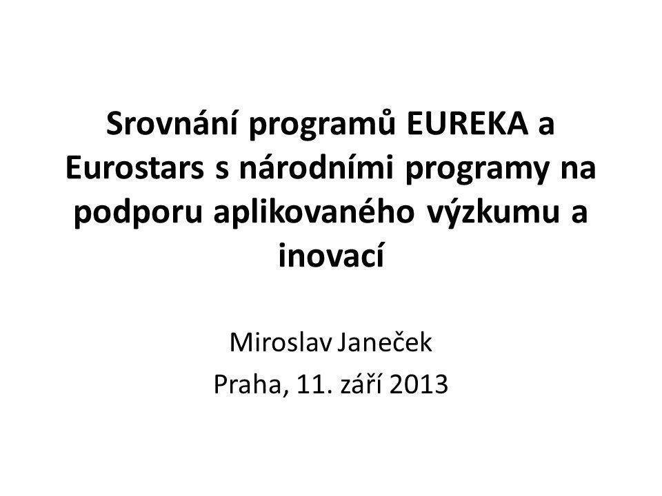 Srovnání programů EUREKA a Eurostars s národními programy na podporu aplikovaného výzkumu a inovací Miroslav Janeček Praha, 11.
