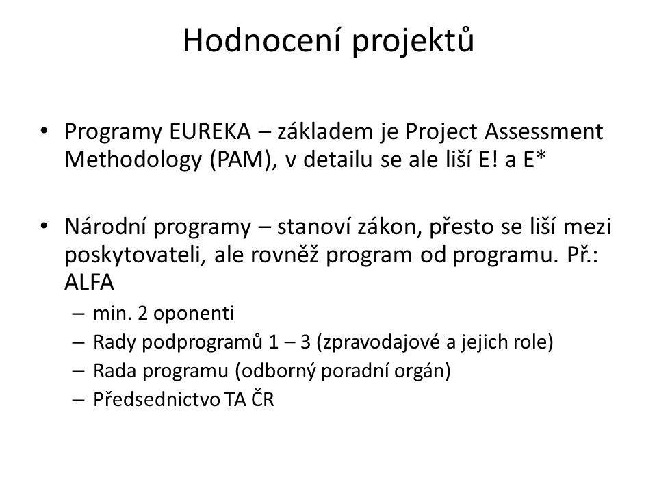 Hodnocení projektů • Programy EUREKA – základem je Project Assessment Methodology (PAM), v detailu se ale liší E.