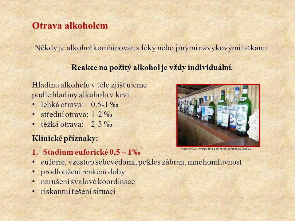 Otrava alkoholem Někdy je alkohol kombinován s léky nebo jinými návykovými látkami.