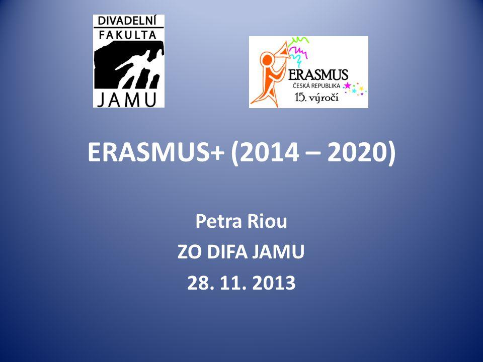 ERASMUS+ (2014 – 2020) Petra Riou ZO DIFA JAMU 28. 11. 2013